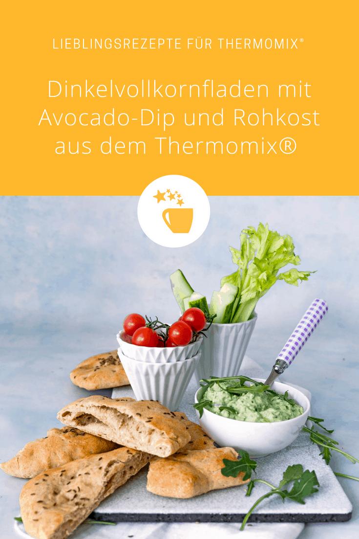 Dinkelvollkornfladen mit Avocado-Dip und Rohkost –Foto: Tina Bumann