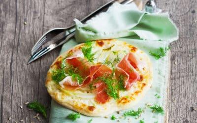 Kleine Fenchelpizza mit Mascarponecreme