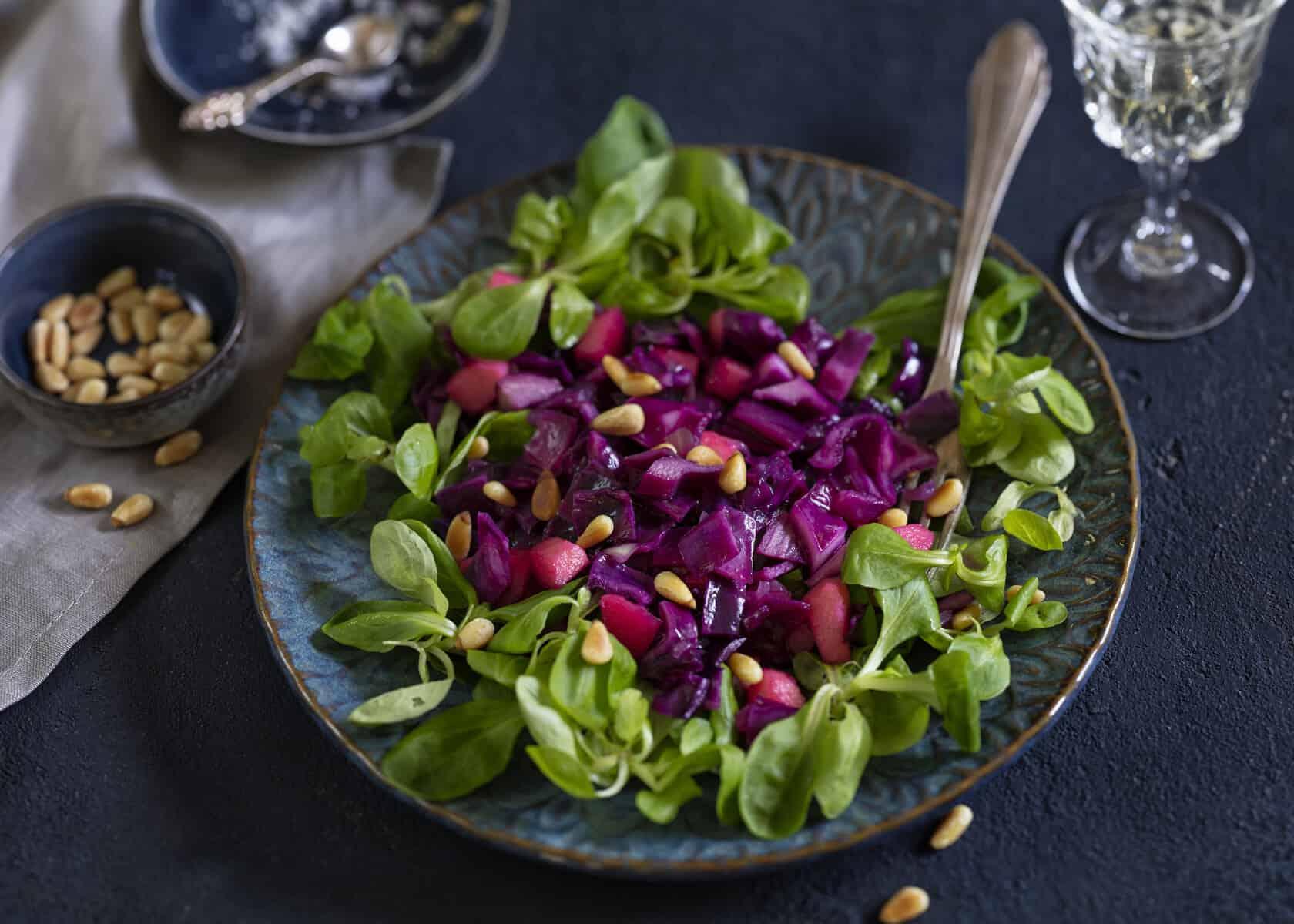 Rotkohlsalat auf einem Feldsalatbett mit dem Thermomix® – Foto: Frauke Antholz