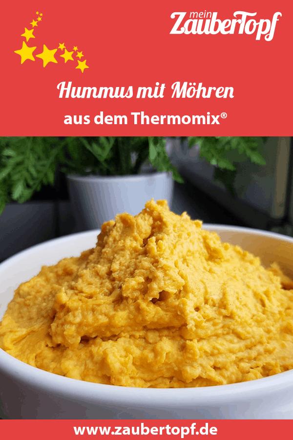 Möhren-Kichererbsten-Dip oder auch Hummus mit Möhren aus dem TM6 – Foto: Nicole Stroschein