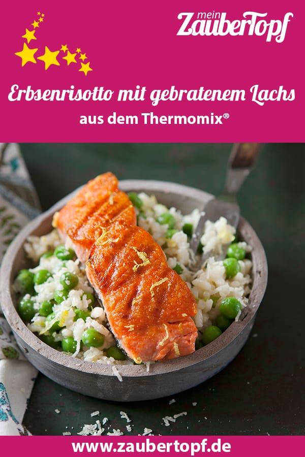 Erbsenrisotto mit gebratenem Lachs – Foto: Frauke Antholz