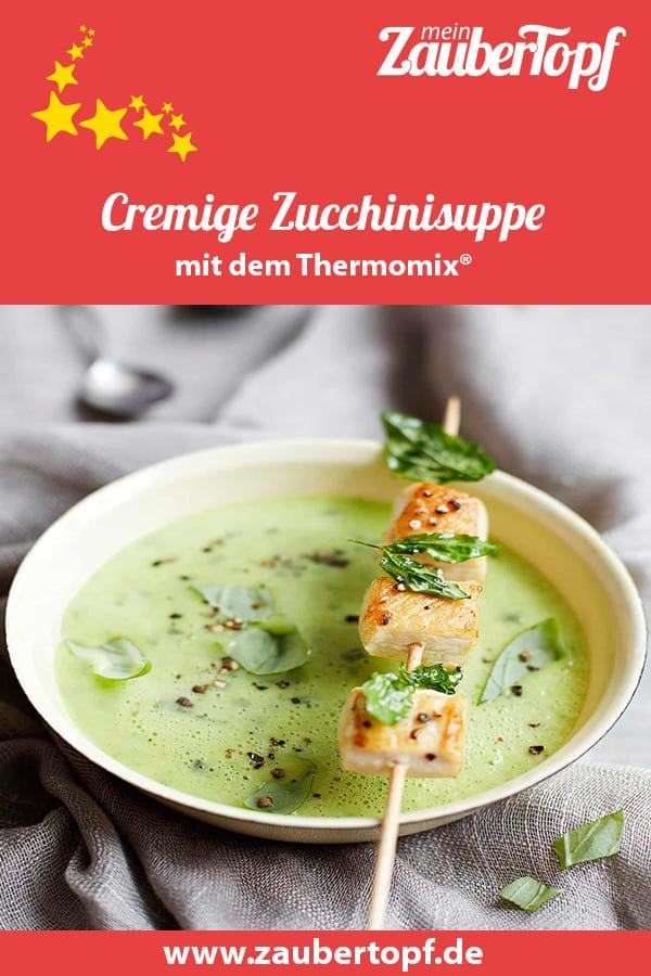 Cremige Zucchinisuppe aus dem Thermomix® mit Hähnchenspießen –Foto: Ira Leoni