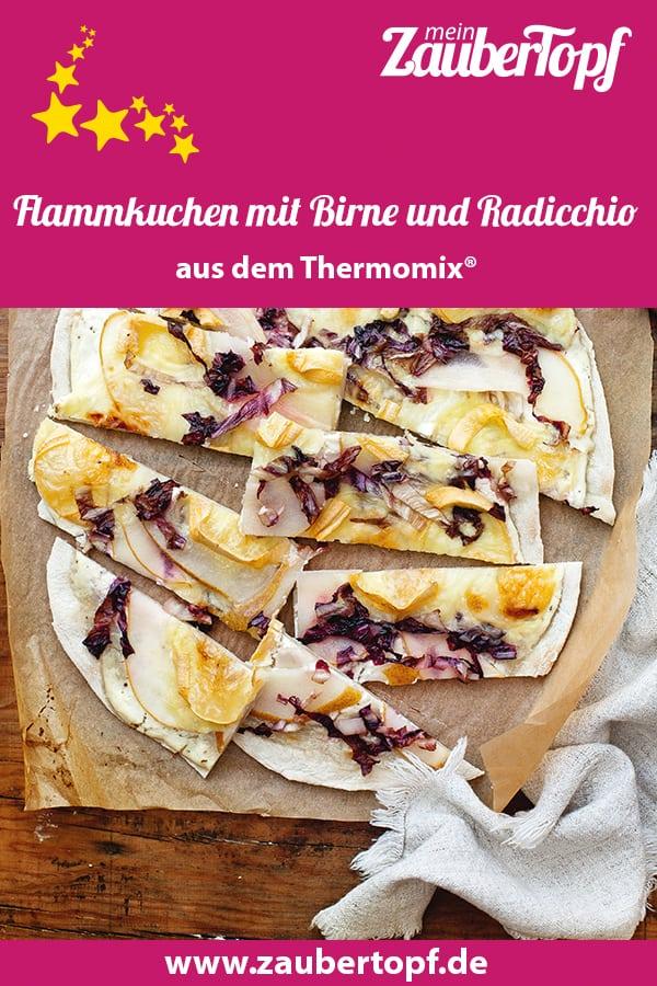 Flammkuchen mit Birne und Radicchio aus dem Thermomix® - Foto. Ira Leoni