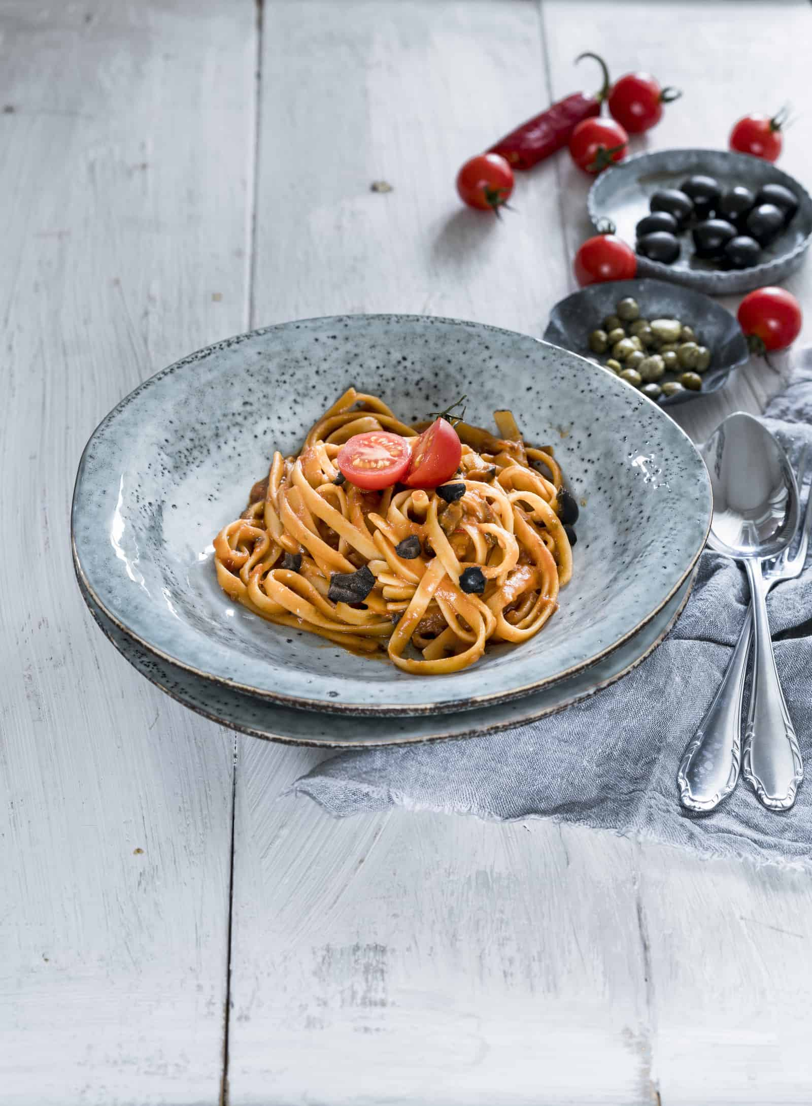 Fettuccine alla puttanesca mit dem Thermomix® –Foto: Tina Bumann