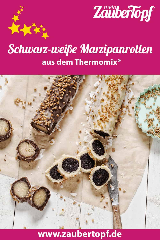 Schwarz-weiße Marzipanrollen aus dem Thermomix® - Foto: Frauke Antholz