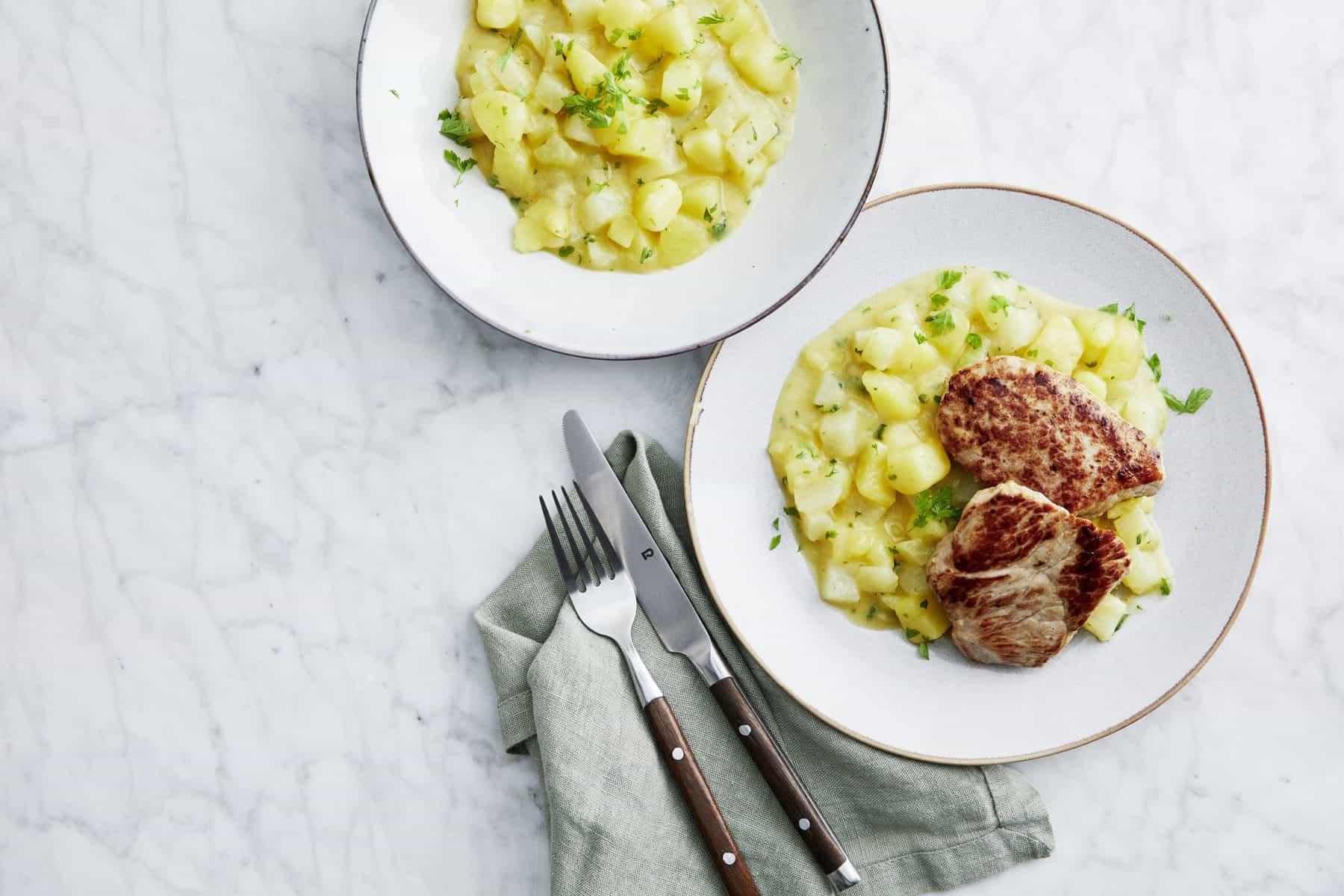 Schweineschnitzel mit Kohlrabi-Kartoffel-Gemüse –Foto: Jorma Gottwald